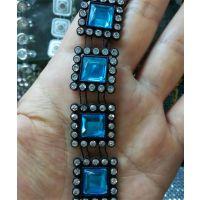 方形蓝色水钻链条钻链饰品链子