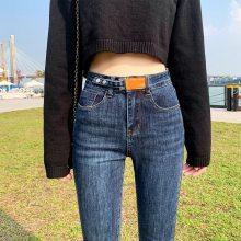 便宜秋季新款女士弹力牛仔裤女装学生修身小脚铅笔女式长裤子韩版