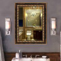 欧式复古浴室镜 批发定制洗手间卫浴镜框挂镜 仿古镜子 ps发泡