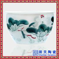景德镇厂家供应手绘陶瓷鱼缸 水缸大缸 摆件礼品