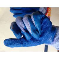 厂家批发21支纱环保无味紫纱蓝胶乳胶起皱耐磨劳保防护手套600双