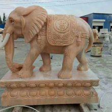 石材大象,晚霞红吉祥,花岗岩石雕大象,顺利石雕供应。