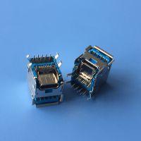 二合一 双层USB3.0母座+type c垫高插座 9P/90度双层+24P/垫高TYPE C双面插