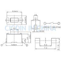 SOFNG TS-1101N 外形尺寸:3.5mm*6.0mm*4.3mm