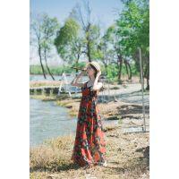 女装连衣裙夏季淑女雪纺碎花荷叶裙中长款连衣裙广州厂家便宜货源批发