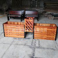 进口山樟木花箱 正方形木制种植箱/园林景观花箱