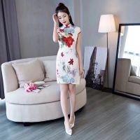 杭州迪兰世家18夏款高档缎面旗袍 品牌折扣女装尾货批发