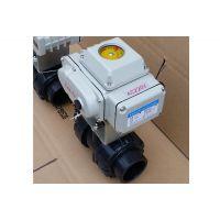 上海疆南阀门制造美标电动PVC球阀 双油令UPVC电动美标标准球阀