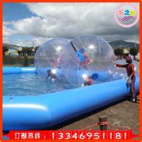 万之利wzl535充气玩具水上滚筒步行球户外水上乐园跑步球透明球漂浮玩具