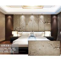 大型艺术定制壁画 皮革床头PVC墙布软包 酒店中式水墨背景墙硬包魔方壁画