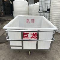 枣庄牛筋材质500L塑料方桶 带轮带推车