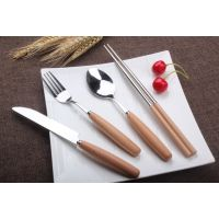 实木柄刀叉勺不锈钢餐具套装木柄筷子 厂家直销