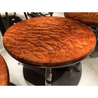 巴西花梨圆桌整板无拼接纯实木圆盘水波纹原木餐桌
