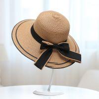 时尚大蝴蝶结沙滩帽 夏季女太阳防晒百搭遮阳帽子 海边沙滩草帽子