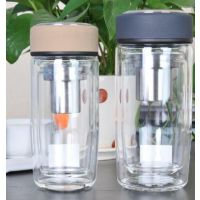 西安万象玻璃杯双层商务办公水杯男大容量透明带盖茶杯 刻字礼品杯子