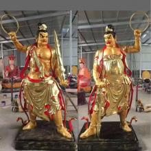 优质树脂贴金彩绘 哼哈二将佛像厂家供应2.5米