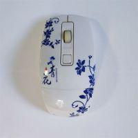 厂家定制鼠标水贴纸 青花瓷彩色印刷水转印贴纸
