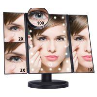 LED化妆镜 三面折叠发光镜 台面化妆镜带2X3X10X放大镜生产工厂
