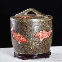 定做带盖陶瓷米缸 5斤/10/20/30斤陶瓷储物罐价格 景德镇储物水缸厂家