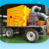 防汛排涝潍柴动力移动泵车300zw800-14 实心轮胎铸铁柴油水泵