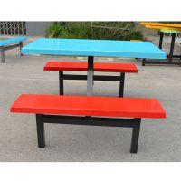 酒泉市员工食堂餐桌椅,简约现代玻璃钢连体食堂桌椅生产厂家