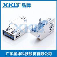 供应香港星坤USB3.0母座AF90度弯脚插板式卷边铜壳蓝色端子镀金