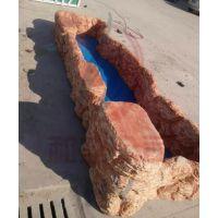 河南和业玻璃钢制品鱼池 厂家异型定制 玻璃钢仿岩石鱼池