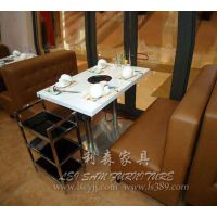 大朗石材火锅桌厂家直销 时尚连锁火锅店餐厅餐桌