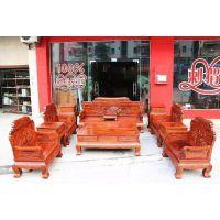 中山市红木家具批发刺猬紫檀凤凰宝座沙发123六件套价格