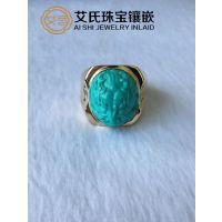 绿松石专业镶嵌18K金戒指
