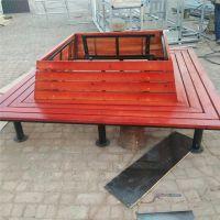 河北厂家定制树围椅公园椅休闲椅防腐木长椅塑木平凳桌椅套装靠背围树坐凳