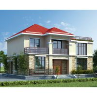AT1783简洁二层复式楼带屋顶花园自建别墅施工图纸12.8mX11.2m