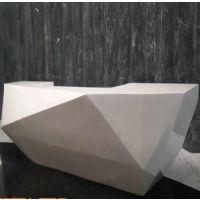 圆弧形玻璃钢吧台 钻石型树脂纤维接待台