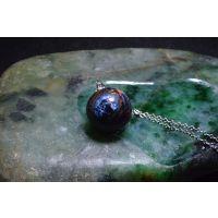 亿万年火山纹天然矿物晶体愈疗能量多彩彼得石圆珠镶银