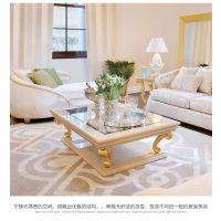 齐居置家欧式茶几全实木奢华茶几金色描金长方形茶桌客厅家具桌子