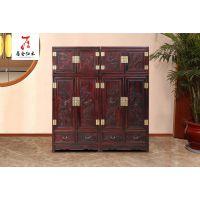 红木古典中式家具-实木衣柜-黑酸枝顶箱柜-红木2.36*60*2.02花鸟顶箱柜