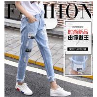 2018春秋新款休闲牛仔裤女九分韩版牛仔裤广州新塘批发市场在哪里有便宜的休闲长尾货