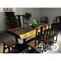 实木大板桌茶桌红木老板桌办公桌原木书桌餐桌会议桌