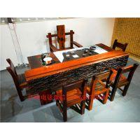 老船木功夫茶台茶桌茶几阳台室内小茶艺桌椅组合吧台博古架特价