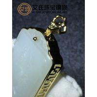 白玉翡翠吊牌镶嵌18K金饰品,珠宝个性镶嵌