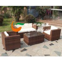 海景房户外藤编桌椅,不锈钢架藤制沙发椅,仿藤长方形茶几配套