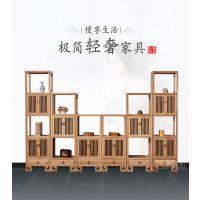 现代中式榆木多宝阁禅意不上漆书房家具原木色榆木多宝阁家具厂家