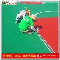 江门室外篮球场地坪漆建设 丙烯酸球场面漆施工 水泥地做新篮球场地胶基础有要求