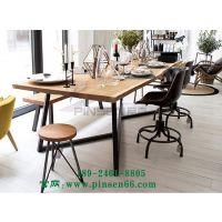 北欧实木会议桌长桌铁艺创意长桌子工作台复古长方形大办公桌