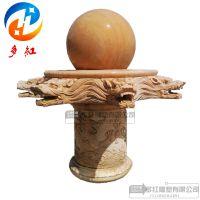 石雕大理石晚霞红风水球欧式龙头喷泉园林户外景区摆件加工定制