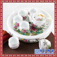 纯手绘整套功夫茶具家用陶瓷茶壶盖碗套装礼品定制logo