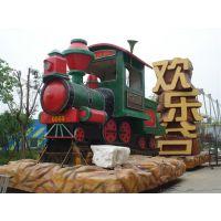 娱乐场所建筑微景观火车制作玻璃钢雕塑