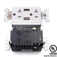 UL认证E500631带保护门USB 15a 美式漏电保护插座 美标GFCI插座