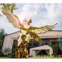不锈钢翅膀女神雕塑,不锈钢抽象人物雕塑,山东雕塑制作