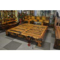 老船木双人床 新中式仿古床 单人床 实木床